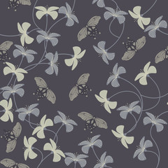 Purple pattern with flowers and cute butterflies silhouette.