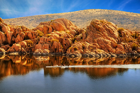 Rowboating in Peaceful Watson Lake - Arizona