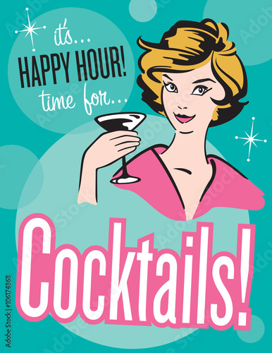 Retro style Cocktails poster or invitation Vector