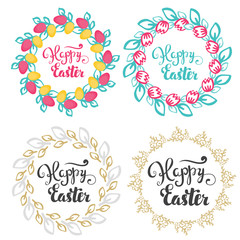 Happy easter. Hand lettering inscription. A set of labels in a variety of floral frame.