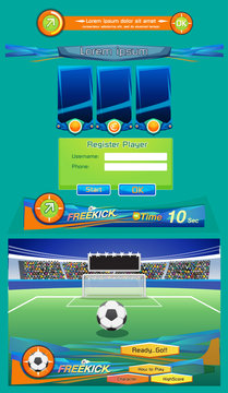 Soccer ball on the penalty spot at the stadium and interface for game. - vector