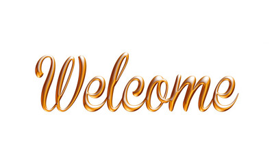Welcome word in golden on white background.