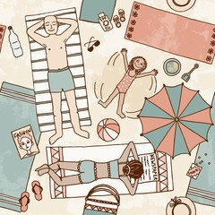 Hand drawn seamless pattern of a family lying at the beach