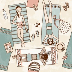 Seamless pattern of girls chilling at the beach