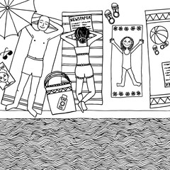 Hand drawn illustration of a family at the swimming pool, top view