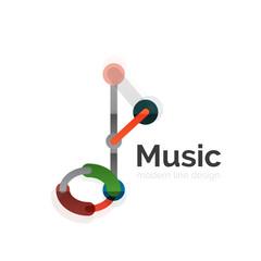 Music note logo, flat thin line geometric design