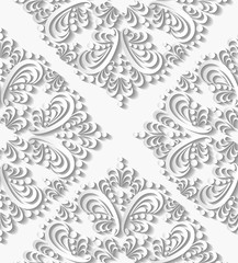 Seamless luxury 3d white paisley illustration vector