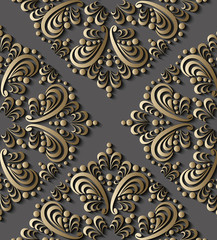 Seamless luxury 3d gold paisley illustration vector