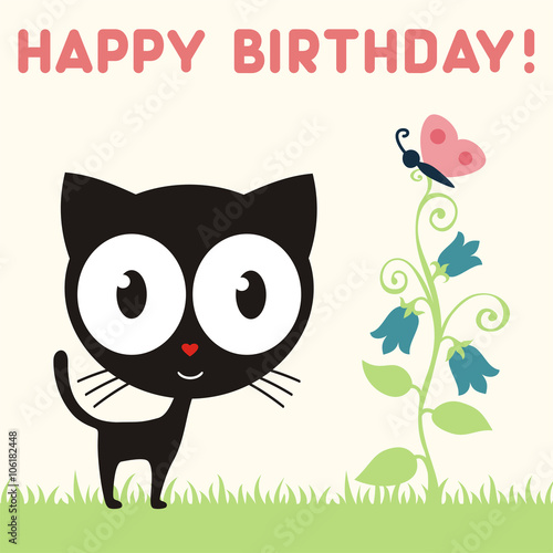 Happy Birthday Cute Kitten With Flower And Butterfly Birthday Card