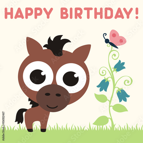Happy birthday cute horse with flower and butterfly birthday happy birthday cute horse with flower and butterfly birthday card vector cartoon horse bookmarktalkfo Gallery