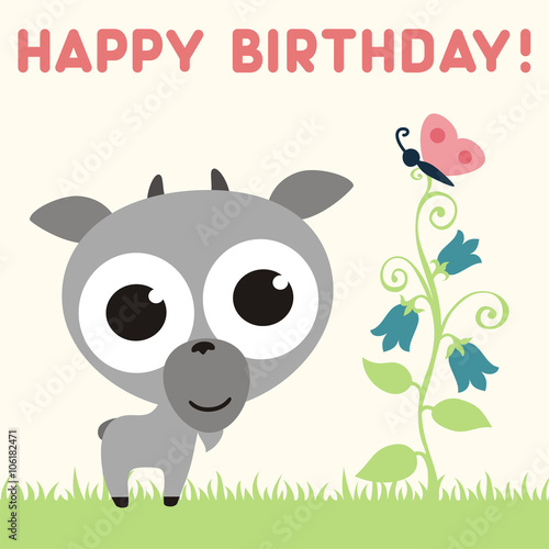 Happy birthday cute little goat with flower and butterfly happy birthday cute little goat with flower and butterfly birthday card vector cartoon bookmarktalkfo Image collections