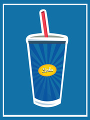 Vintage Drinks And Beverage Poster/ Illustration . Soda. Fast Food snack and takeaway menu. Isolated Vector.