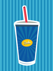 Vintage Drinks And Beverage Poster/ Illustration . Soda. Fast Food. Isolated.