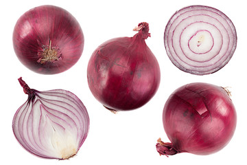 Purple onion collection on white