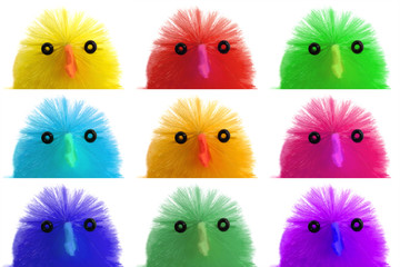 Collection of easter chicks, close-up