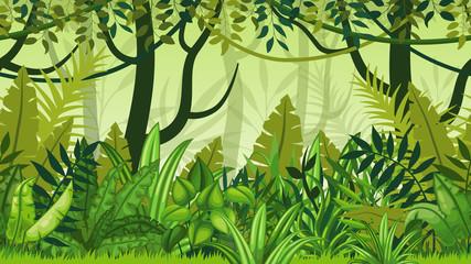 Seamless nature jungle cartoon landscape