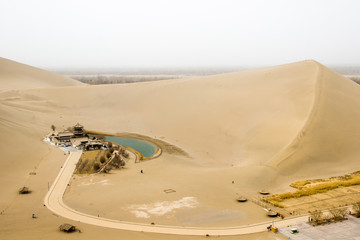 Mingsha shan sand mountain and Crescent moon lake in Dunhuang, G