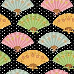 Multi-colored fan with flower pattern in Oriental style.