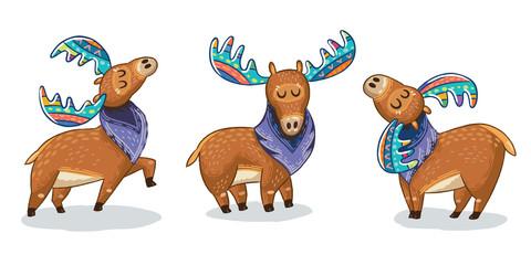 Set of cute cartoon hand drawn elks