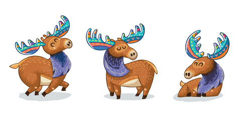 Set of cute cartoon hand drawn elks