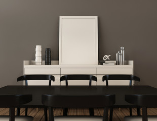 Simple of working and dining set modern mock up -  3d render