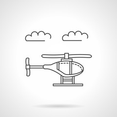Helicopter in sky flat line vector icon