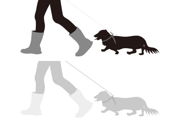 イラスト素材「犬の散歩」
