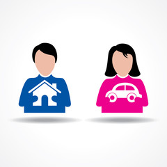 Male Female thinking about their home and car stock vector