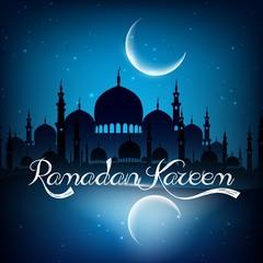 Ramadan kareem background with mosque on night