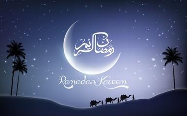 Ramadan kareem with camel walks through in desert on night day