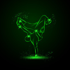Breakdancer dancing and making a frieze on one hand. Vector neon illustration.