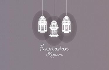 "Lantern ""Ramadan Kareem"" on gray background"
