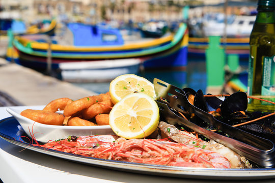 Seafood platter served in mediterranean restaurant