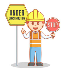 Construction worker repair the sign