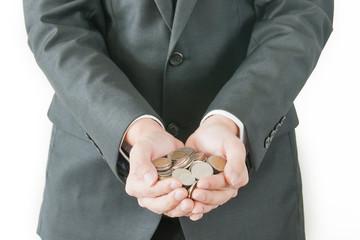 Businessman saving money for investment