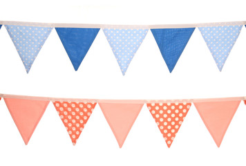 blue and pink bunting decoration