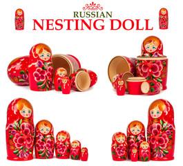 set nesting dolls isolated