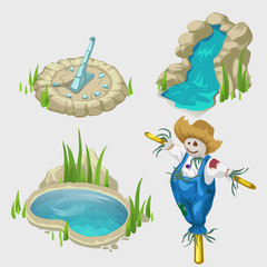 Scarecrow, fountain, pool and decorative elements