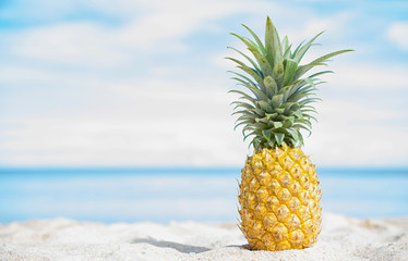 Pineapple on the beach with blue sky and sea background. Wall mural