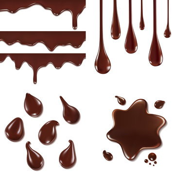 Set of chocolate drops and blots