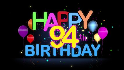 020 Happy 94th Birthday Title Seamless Looping Animation For Presentation With Dark Background