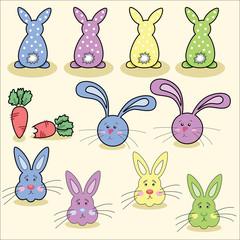 Easter rabbit eggs vector