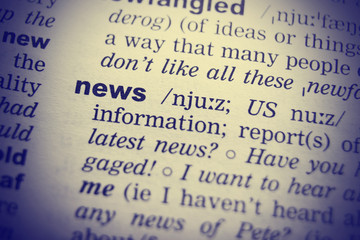 English Dictionary definition of the word News.