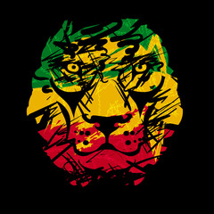 rasta lion vector 2