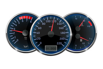 Car dashboard. Speedometer, tachometer, fuel gauge