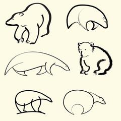 bears lines vector black white