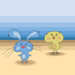 bunny and chick vector art