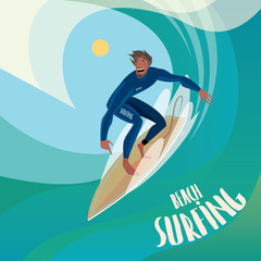 Happy man in blue dive skin on a surfboard to ride the wave - Sport or surfing concept
