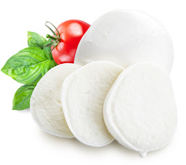 Mozzarella, basil and tomatoes. Clipping paths