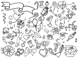 Valentine Day coloring line art design vector